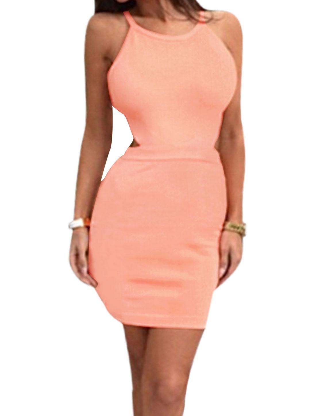 Woman U Neck Cut Out Back Spaghetti Straps Unlined Bodycon Dress XL