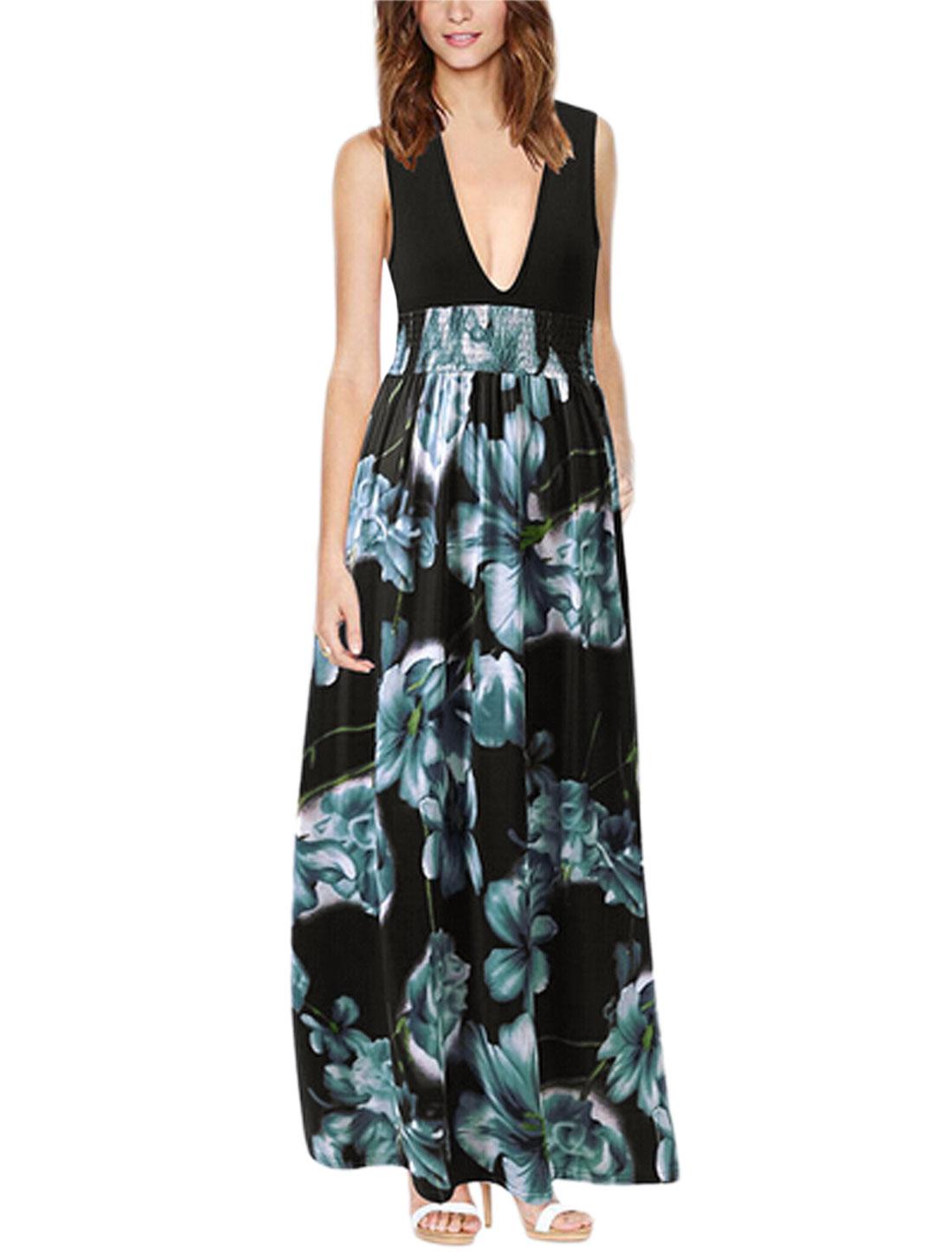 Women Floral Prints Smocked Waist Maxi Dress Light Cool Gray Black M