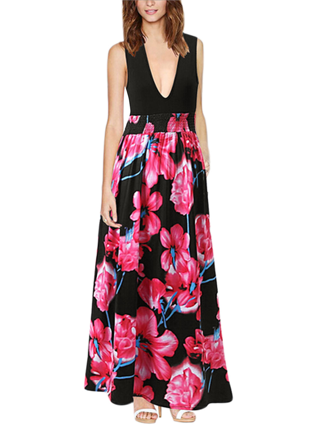 Women Floral Prints Smocked Waist Sleeveless Maxi Dress Fuchsia Black M