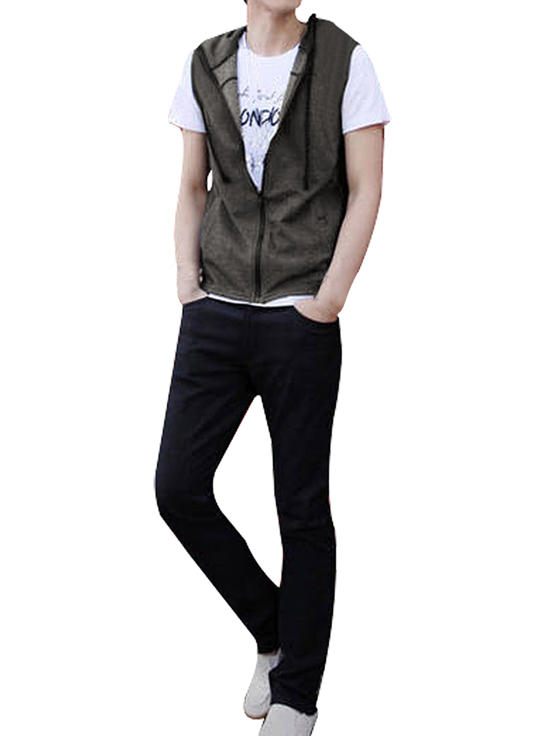 Men Zipper Front Two Pockets Regular Fit Casual Sleeveless Hoodie Dark Gray S