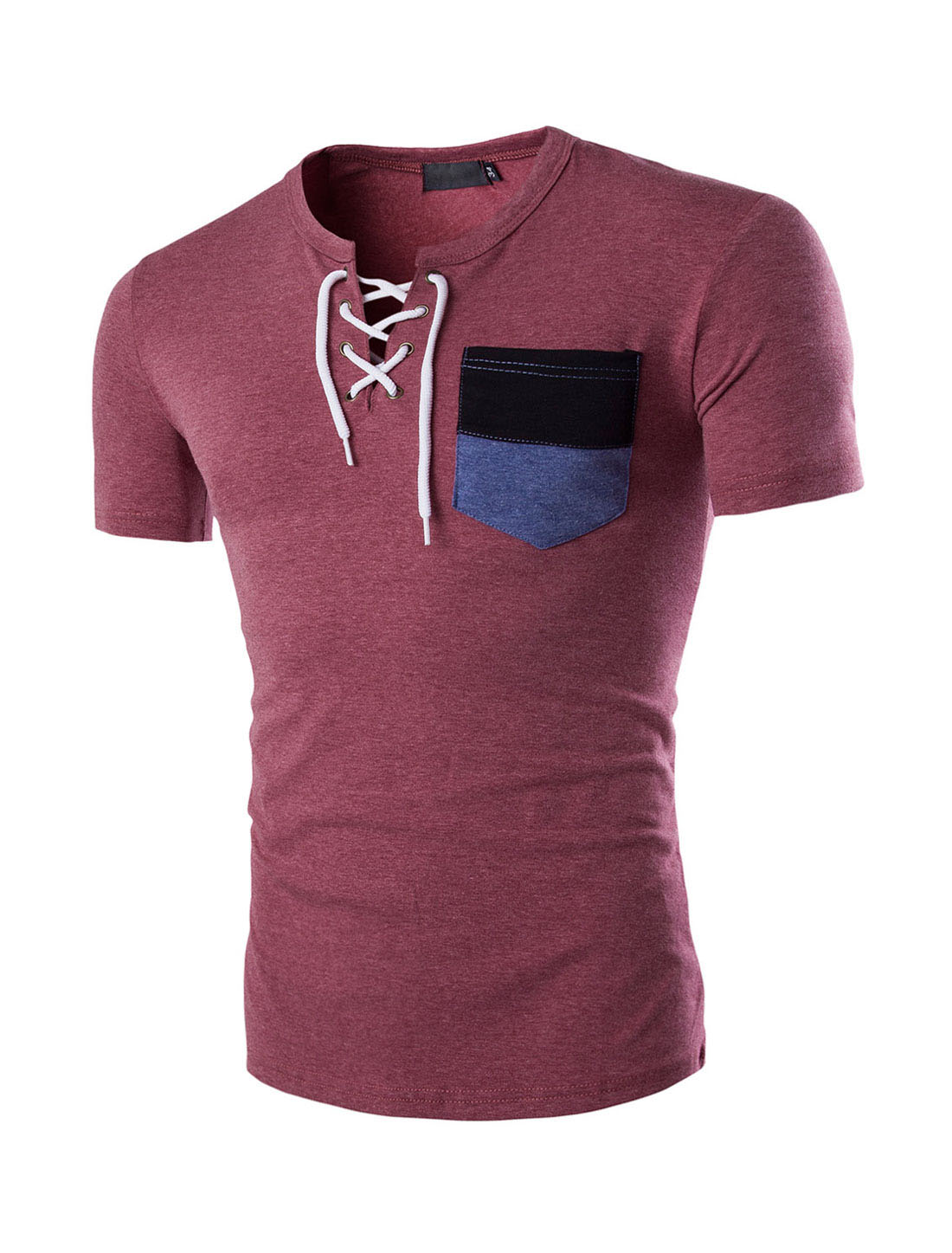 Men Short Sleeves Chest Pocket Lace-up T-Shirts Burgundy M