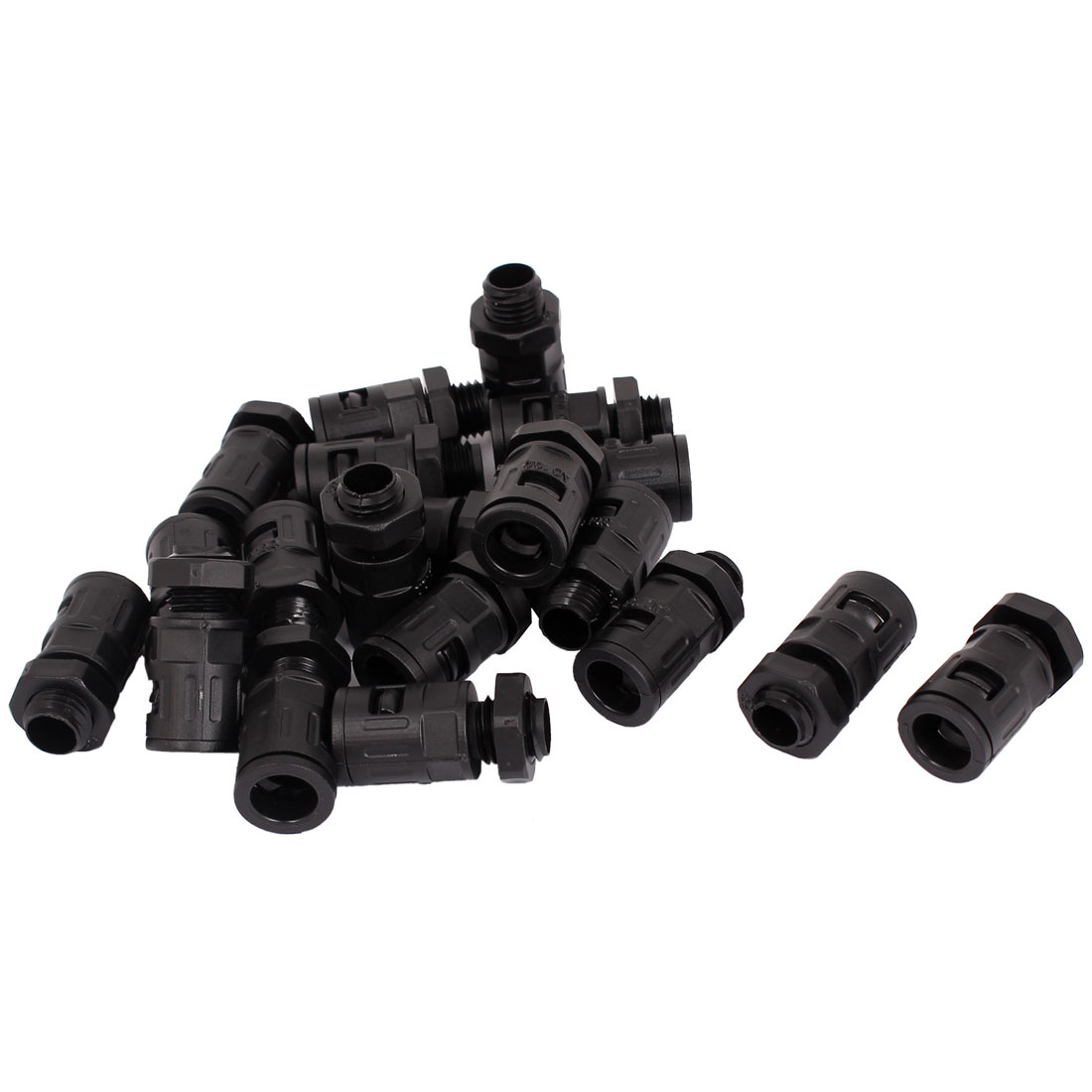 AD10 PG7 PA Flexible Corrugated Pipe Round Cable Hose Connector Black 20Pcs