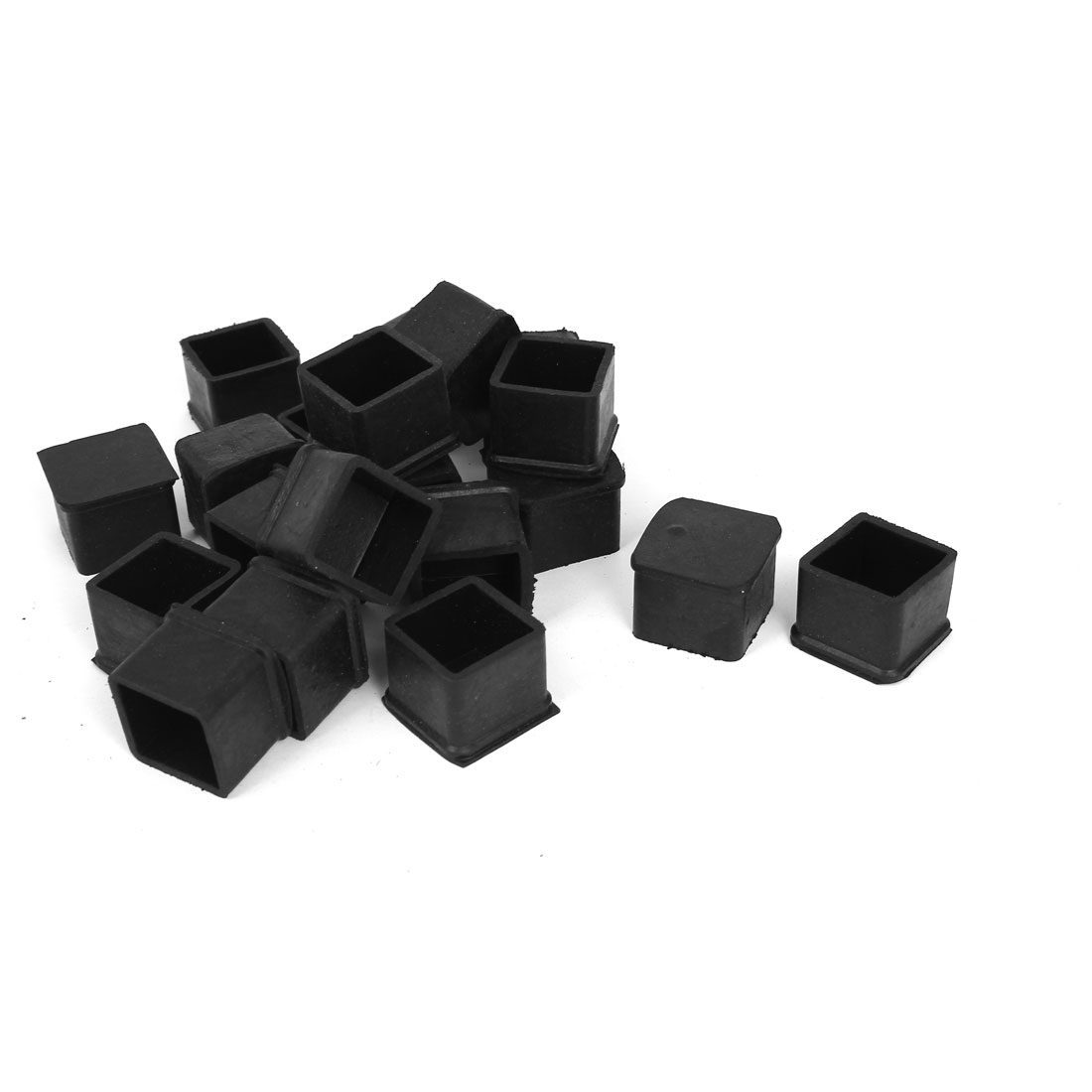 28pcs Black Rubber Furniture Table Foot Leg Covers Pad Floor Protector 25mmx25mm