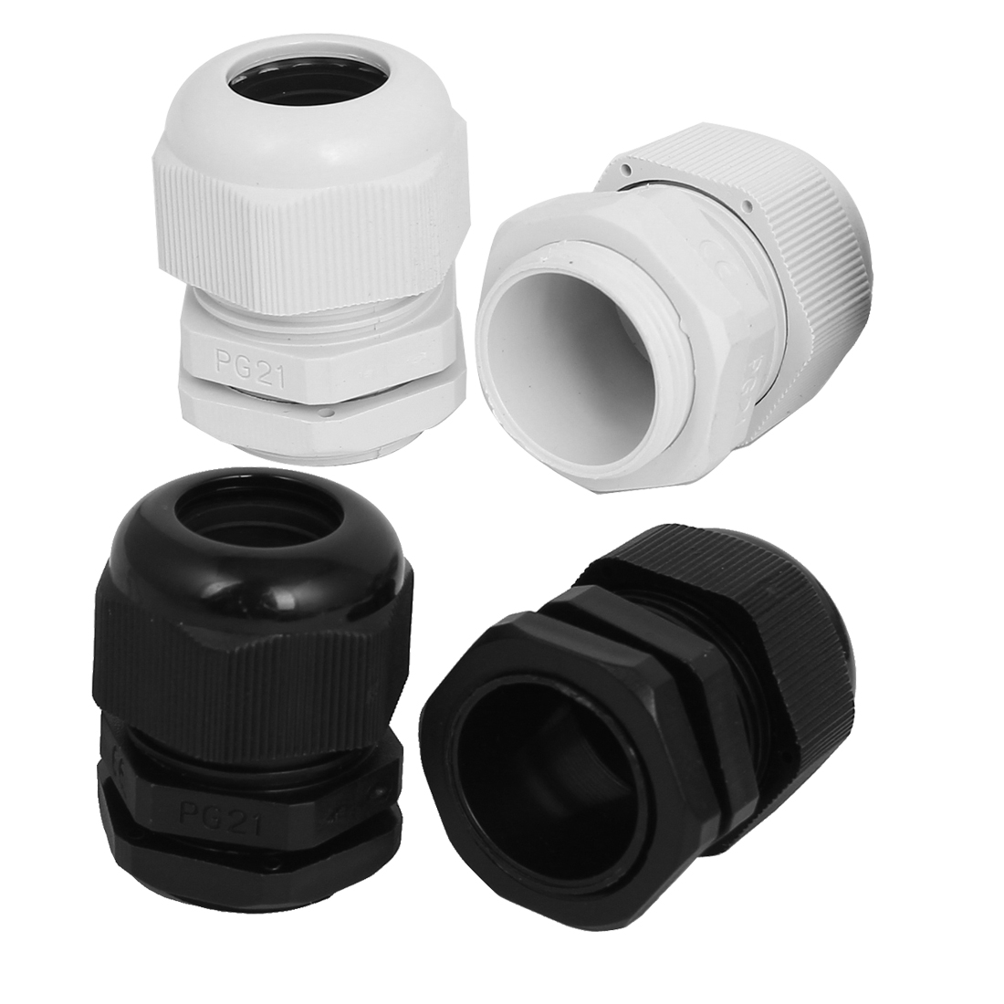 Black White Nylon PG21 13-18mm Wire Waterproof Fastener Locknut Cable Gland 4pcs