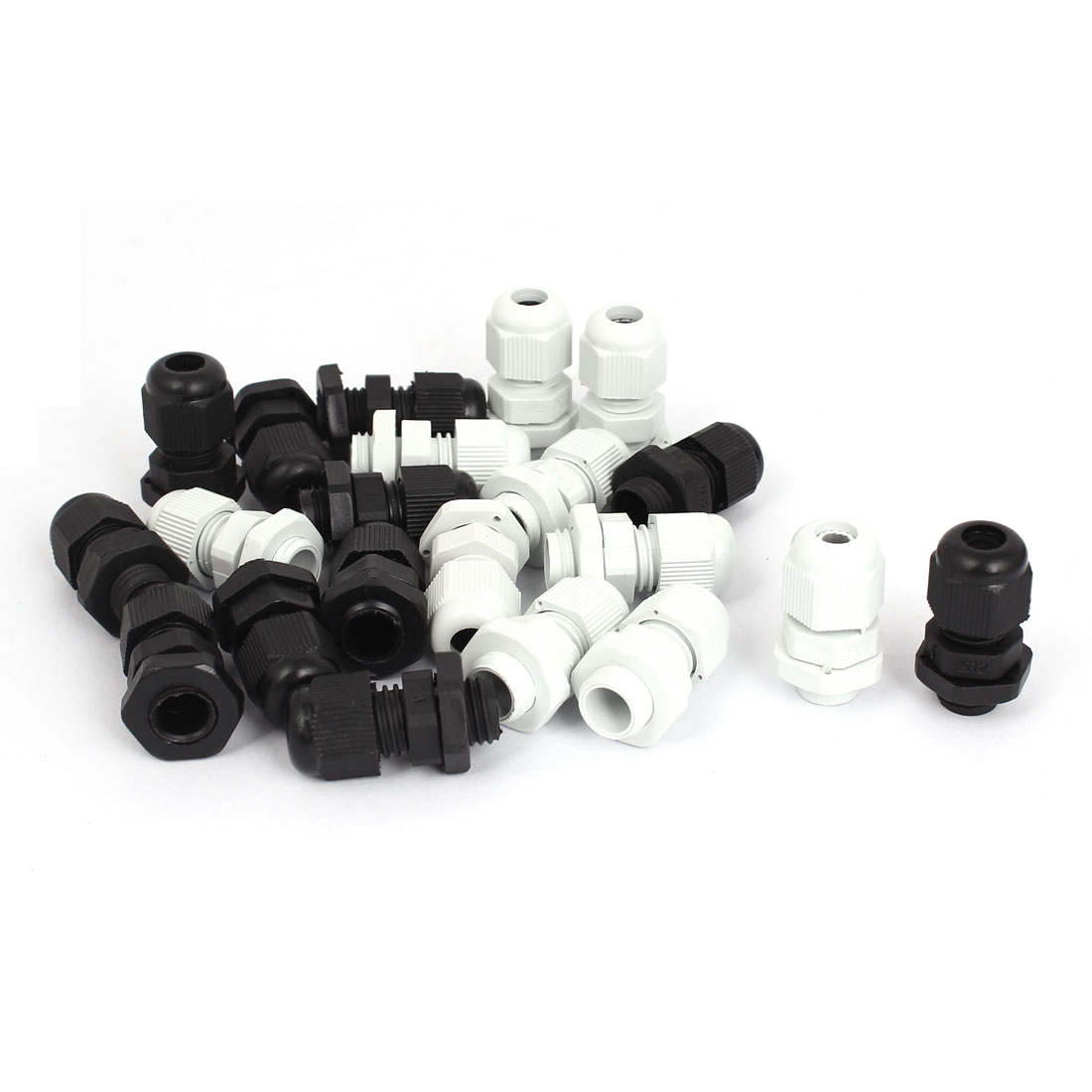 Black White Nylon PG7 3-6.5mm Wire Waterproof Fastener Locknut Cable Gland 21pcs