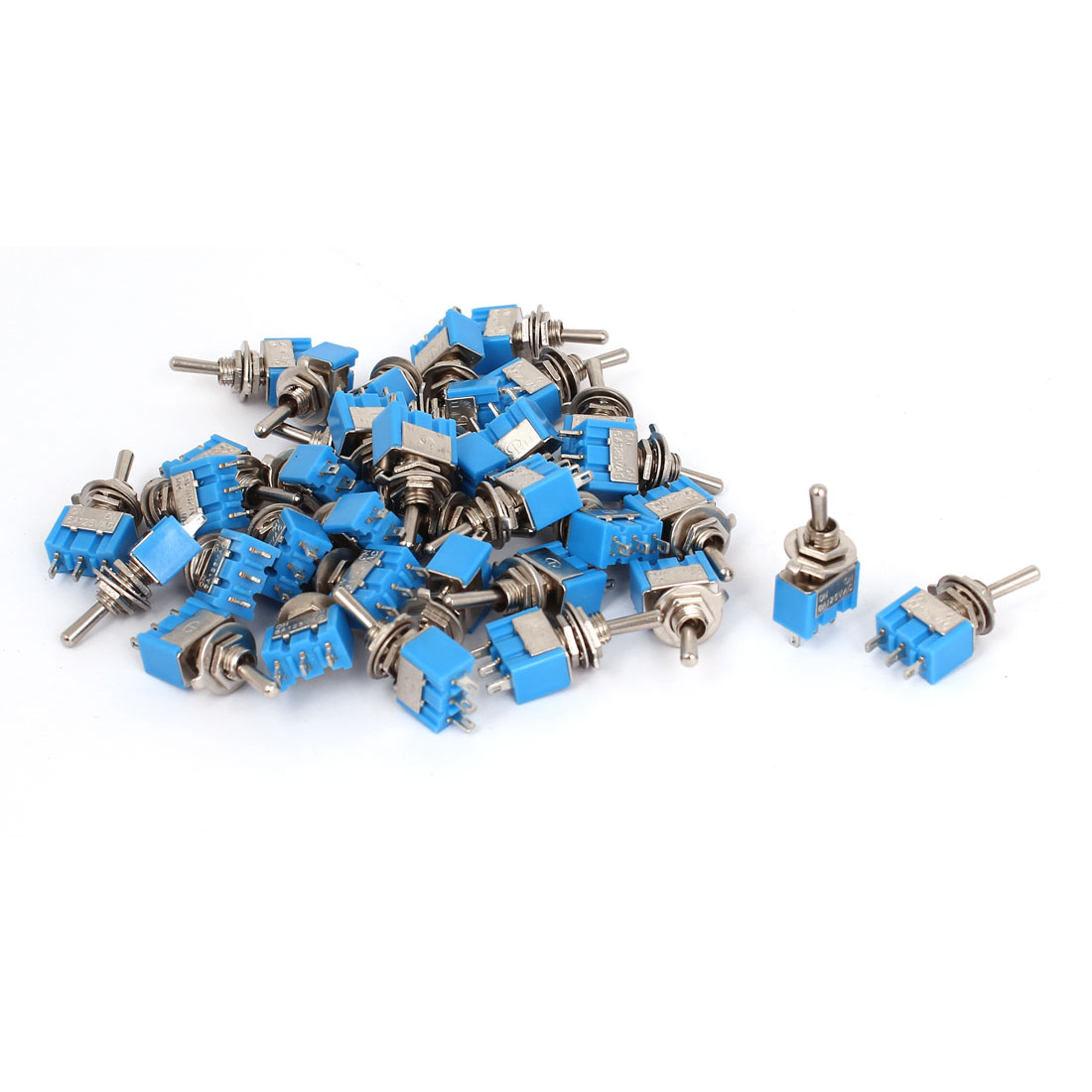 AC 125V 6A SPDT ON/ON 6mm Thread 3 Terminals Toggle Switch Blue 36pcs