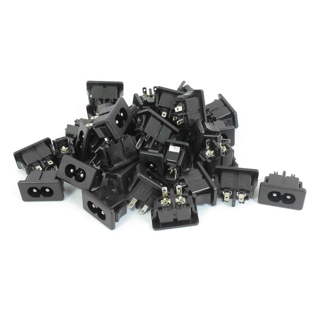 AC 250V 2.5A IEC320 C8 Male PCB Socket Connector Adapter 35 PCS