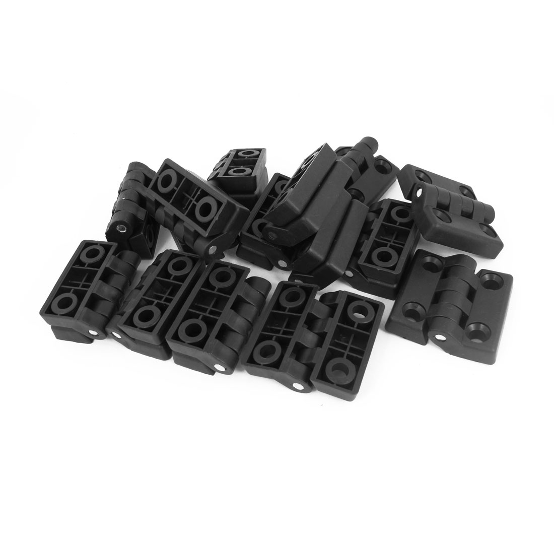 48mmx48mm Furniture Closet Cabinet Door Butt Plastic Hinge Black 15pcs