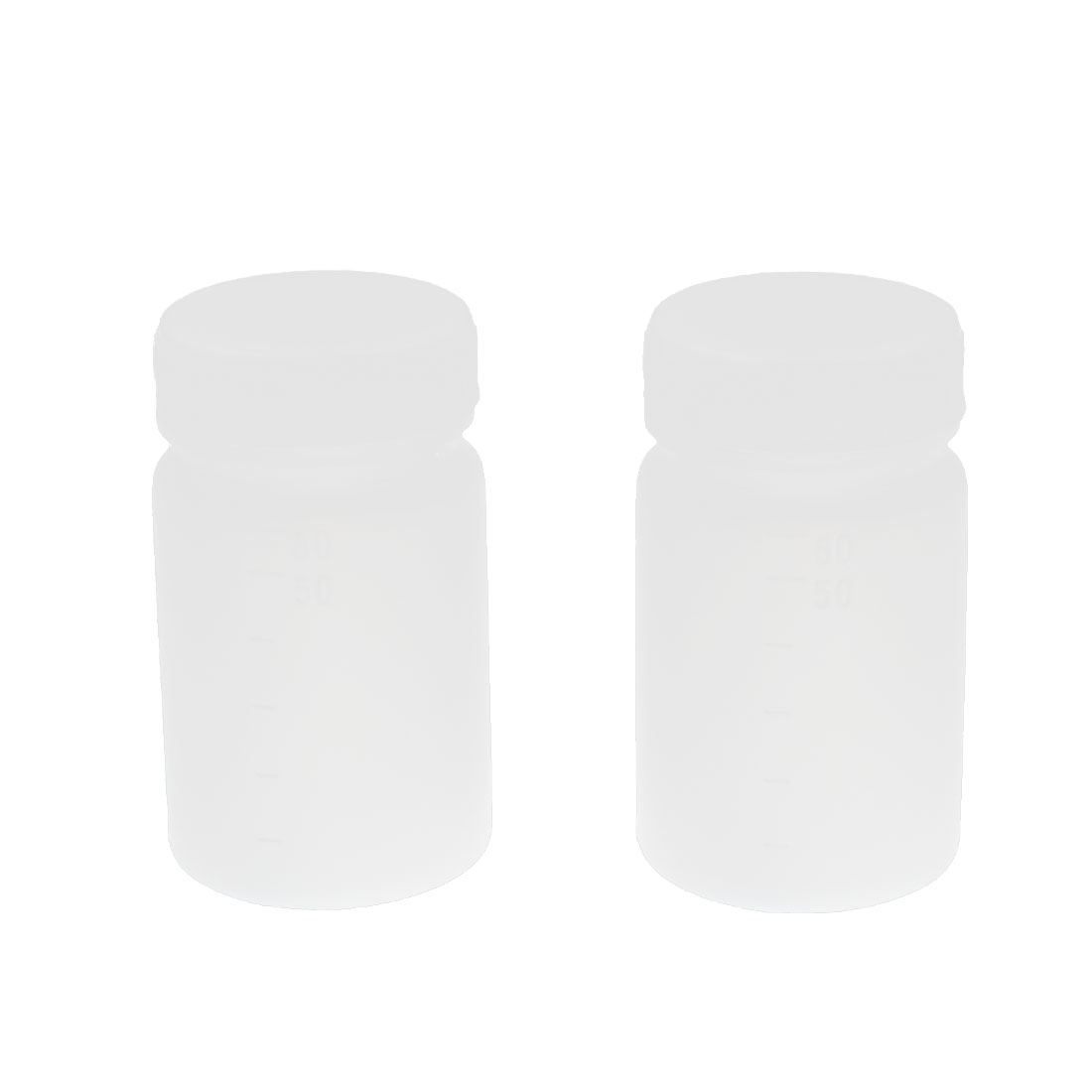 2Pcs 60ML Plastic Cylinderical Graduated Lab Chemical Capacity Storage Bottle White