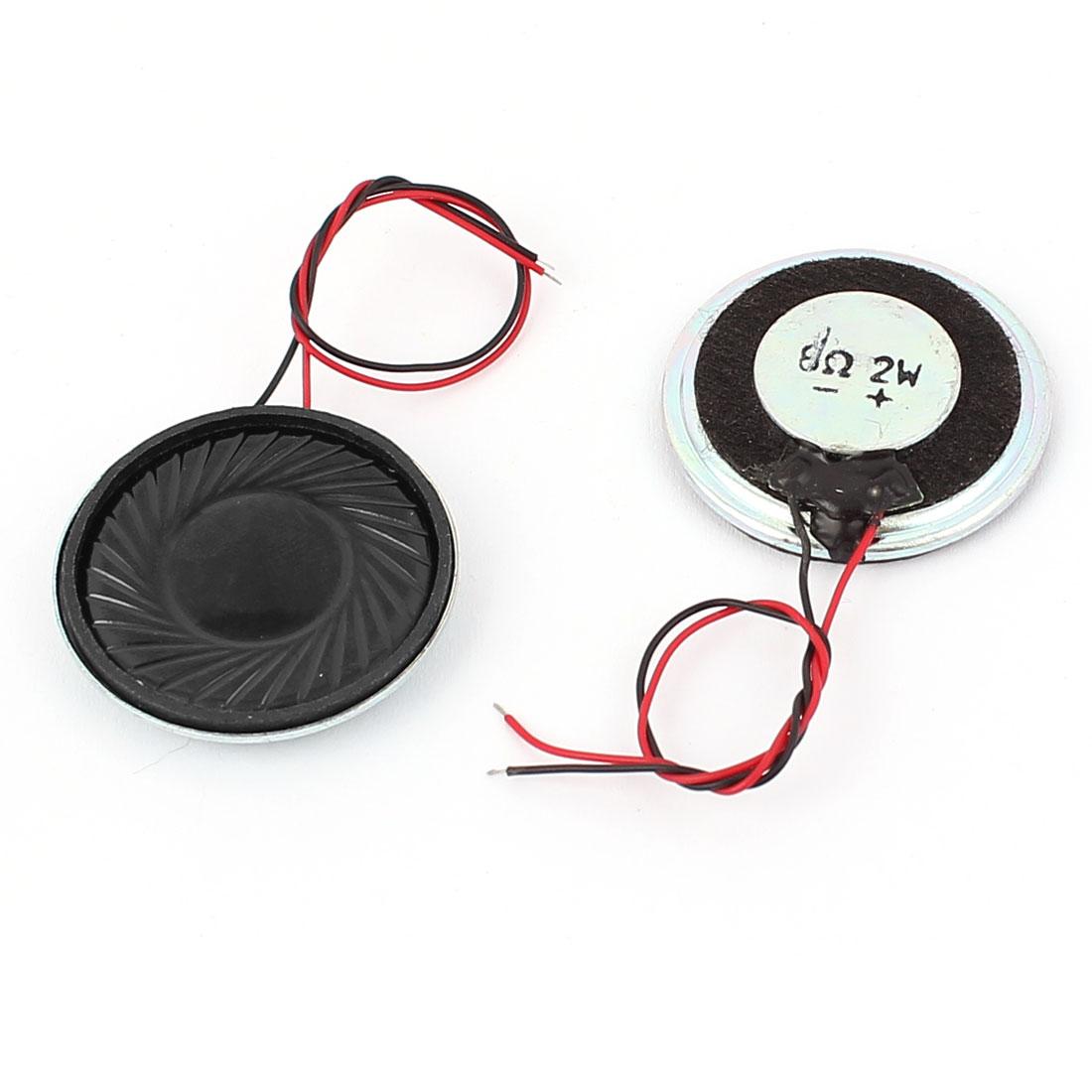 2Pcs 8 Ohm 2W Round Metal Shell Wire Lead Internal Magnet Speaker Horn