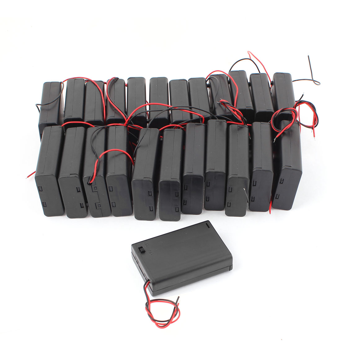 24Pcs 2 Wire Lead Plastic ON/OFF Switch Battery Holder Box w Cover for 3 x 1.5V AA Batteries