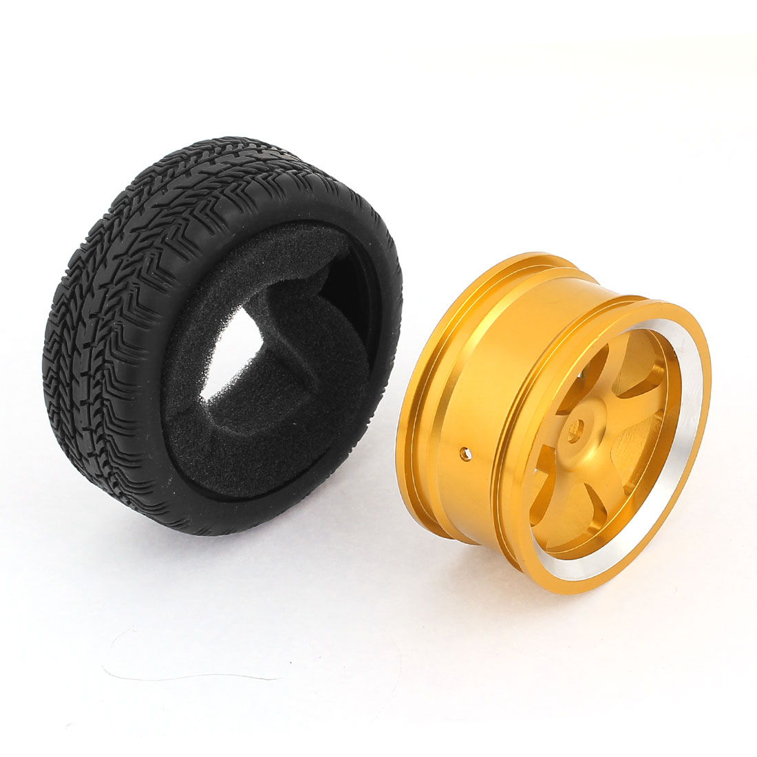 Aluminium Alloy Golden Tone Wheel Rim w Rubber Tyre for Toy Racing Car