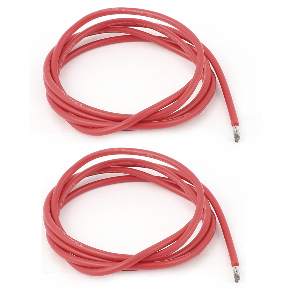 2Pcs 1M 16AWG High Temperature Resistant Soft Silicone Wires Red