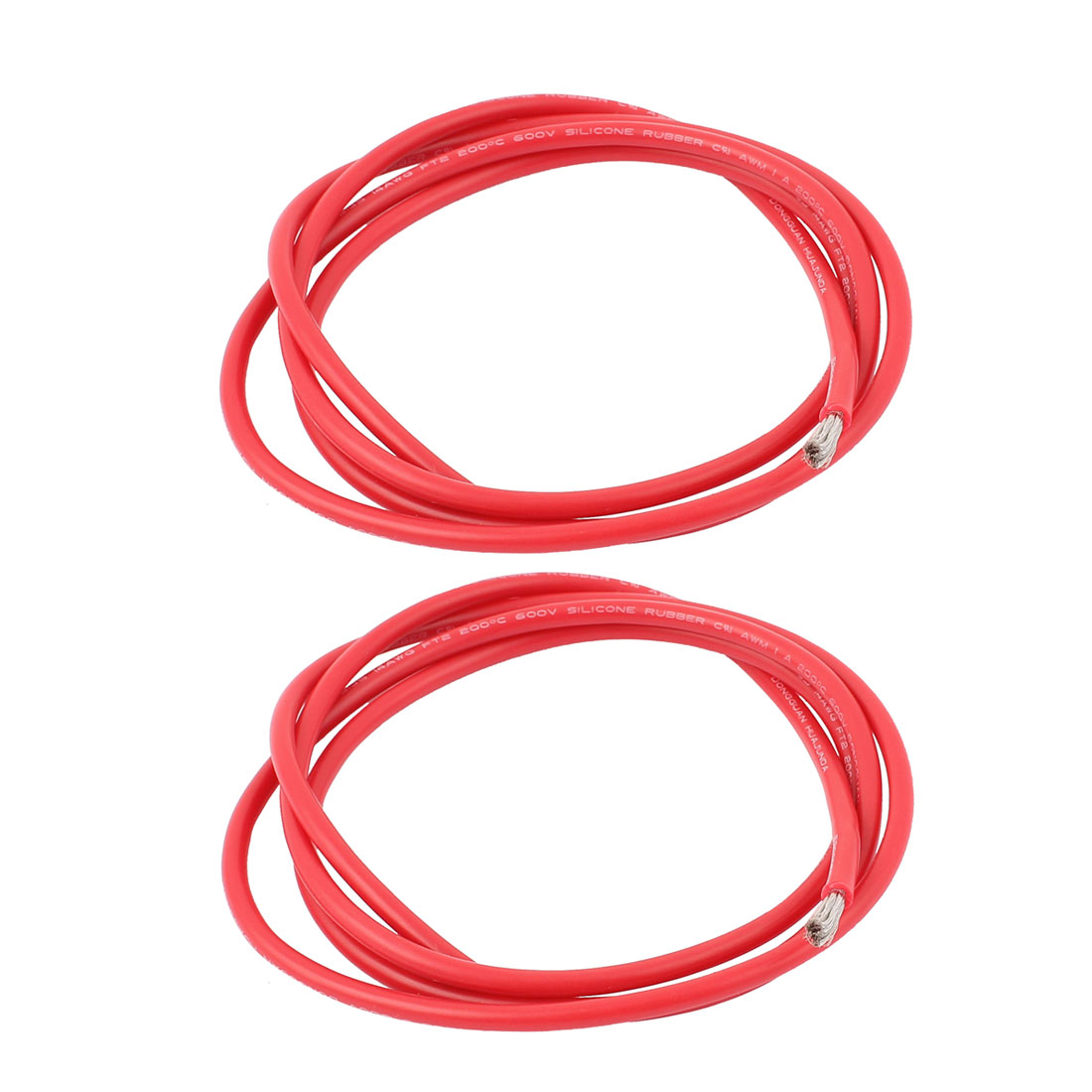 2Pcs 1M 14AWG High Temperature Resistant Soft Silicone Wires Red