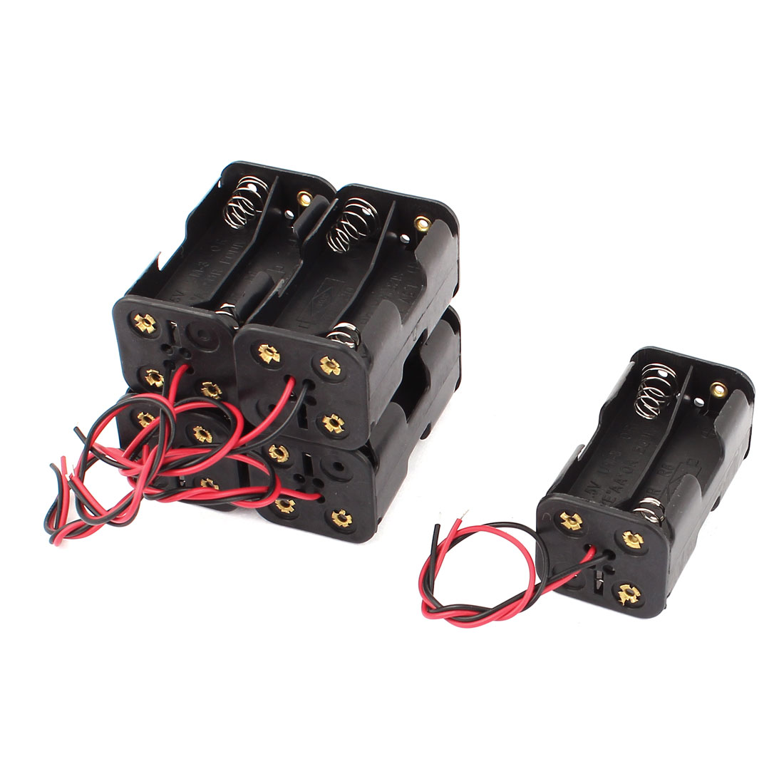5Pcs 2 Wire Lead Double Side Battery Holder Box for 4 x 1.5V AA Batteries