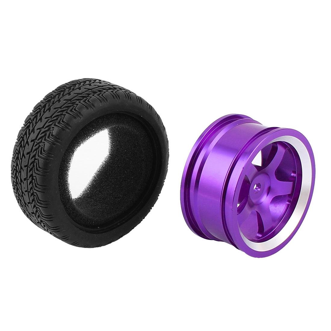 Aluminium Alloy Purple Wheel Rim w Rubber Tyre for Racing Car