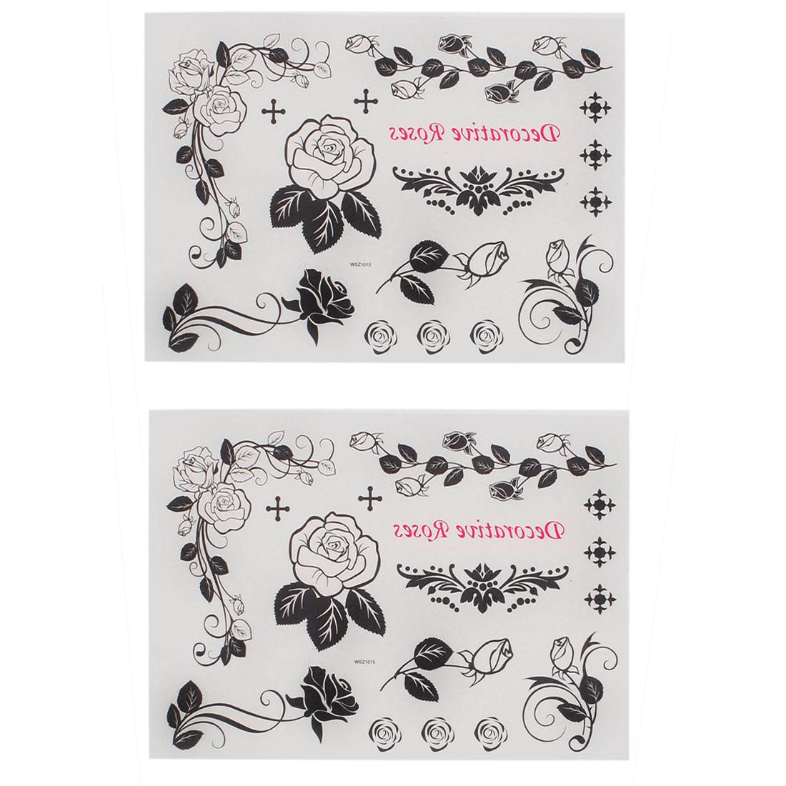 2 pieces Rose Print Body Art Removable Sticker Temporary Tattoos
