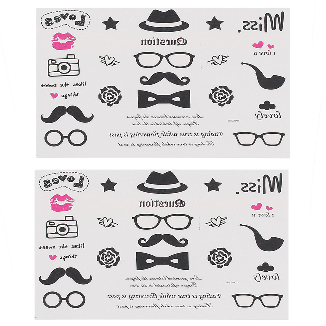 2 pieces Glasses Hats Body Removable Sticker Temporary Tattoos