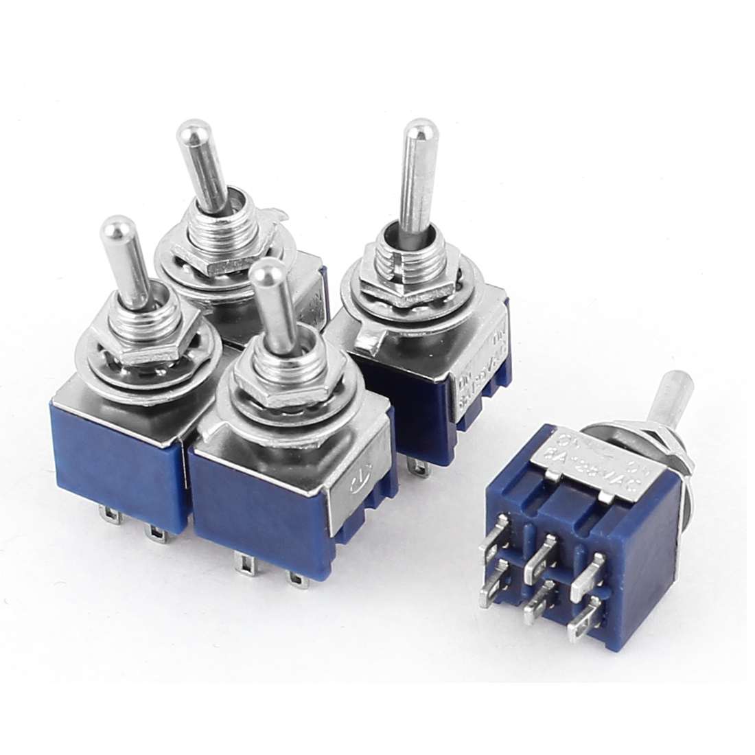 AC 125V 6A 6 Pins ON-ON 2 Positions DPDT Toggle Switch Dark Blue 5pcs
