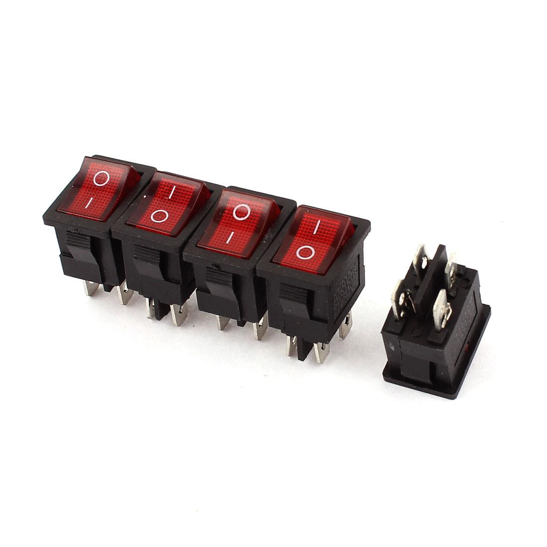 5PCS Red Lamp 4 Pins DPST On/Off Boat Rocker Switch AC 250V 10/6A 125V 10/6A