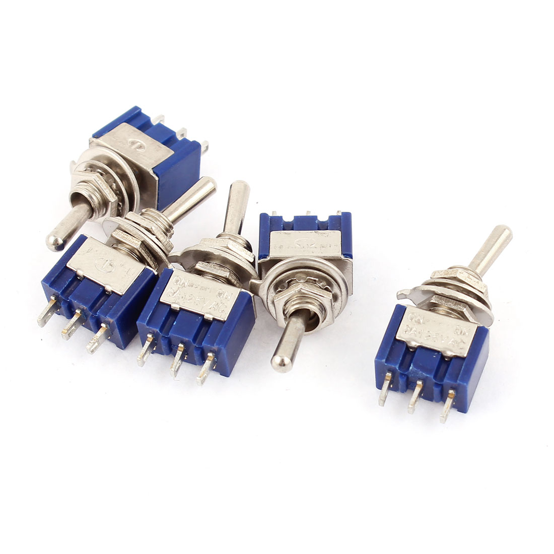 AC 125V 6A 3 Pins ON-ON 2 Positions SPDT Toggle Switch Dark Blue 5pcs
