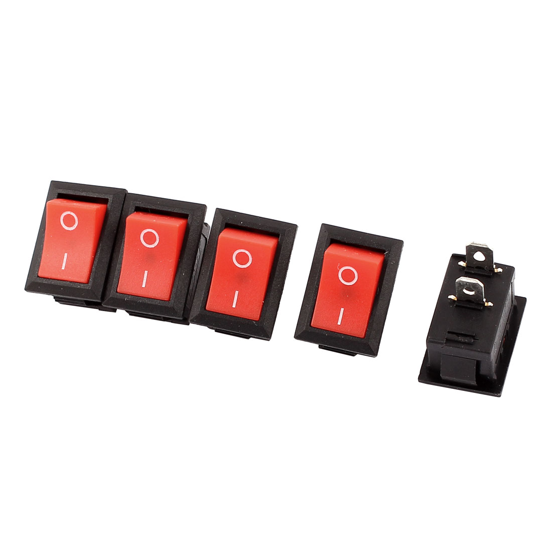 5PCS Red Button SPST Boat Rocker Switch Black AC 250V 5A 125V 10A