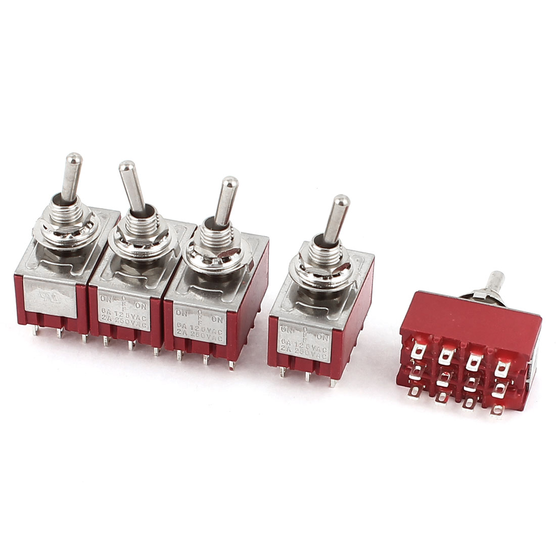 5pcs 4PDT ON-OFF-ON 3 Position 12 Terminal Toggle Switches AC 250V/2A 125V/6A