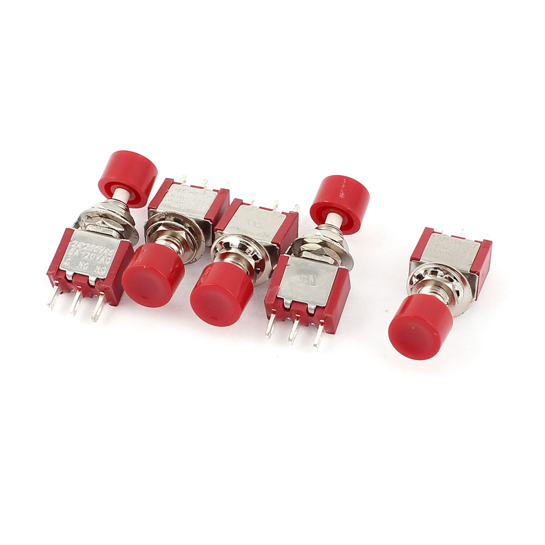 AC 250V/2A 120V/5A 3 Terminals SPDT Momentary Tactile Tact Pushbutton Switch 5pcs