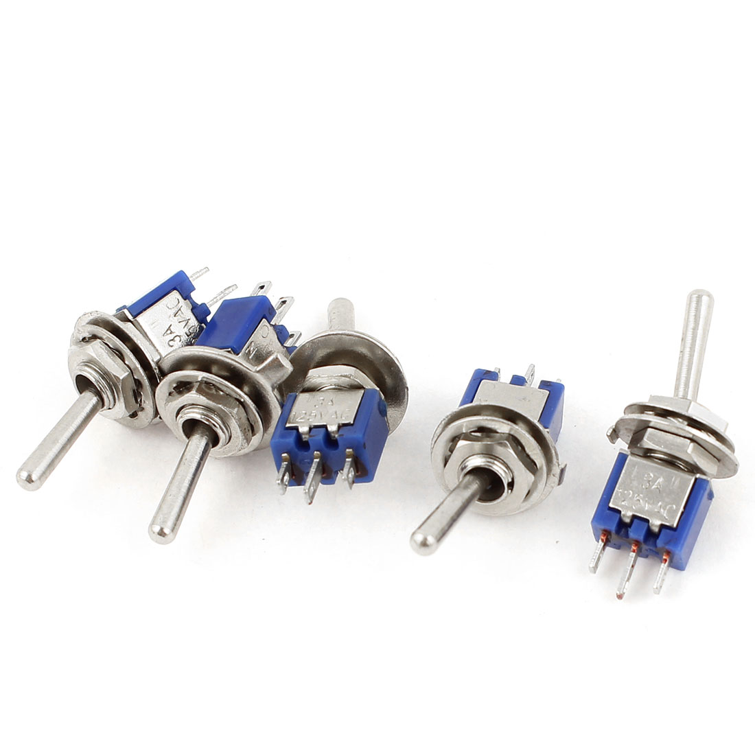 AC 125V 3A 3 Pins ON-ON 2 Positions SPDT Toggle Switch Dark Blue 5pcs