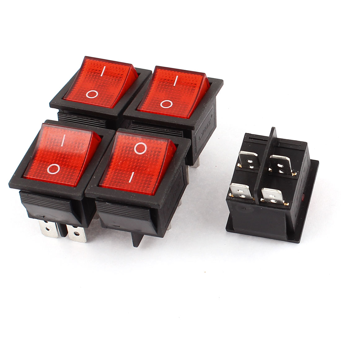5PCS Red Lamp 4 Pins DPST On/Off Boat Rocker Switch AC 250V/16A 125V/20A