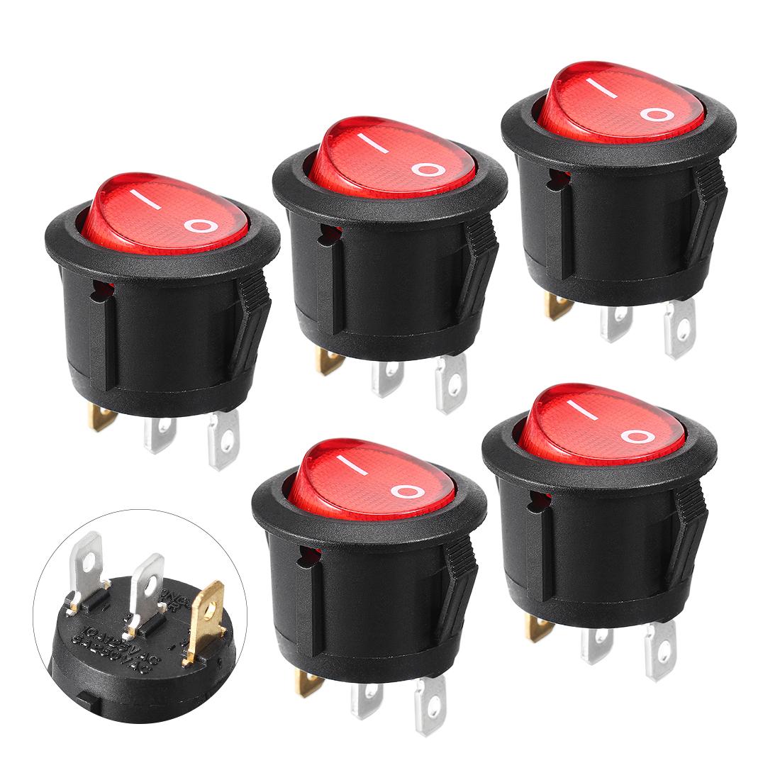 5PCS Round Red Lamp 3 Pins SPST Boat Rocker Switch AC 250V/6A 125V/10A