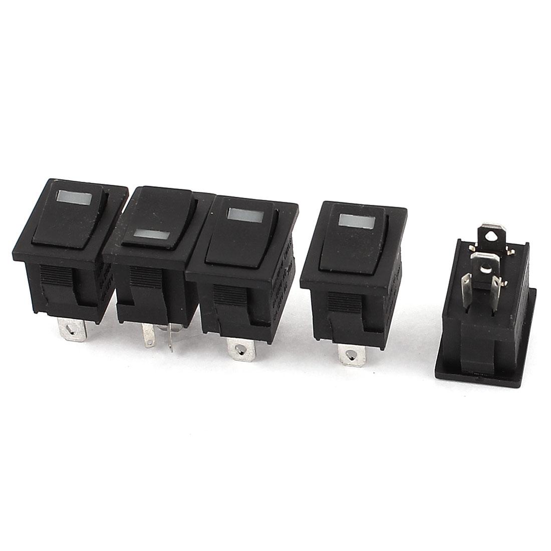 Car SPST ON-OFF Indicator Light Rocker Toggle Switch AC 250V 6A 125V 10A 5PCS