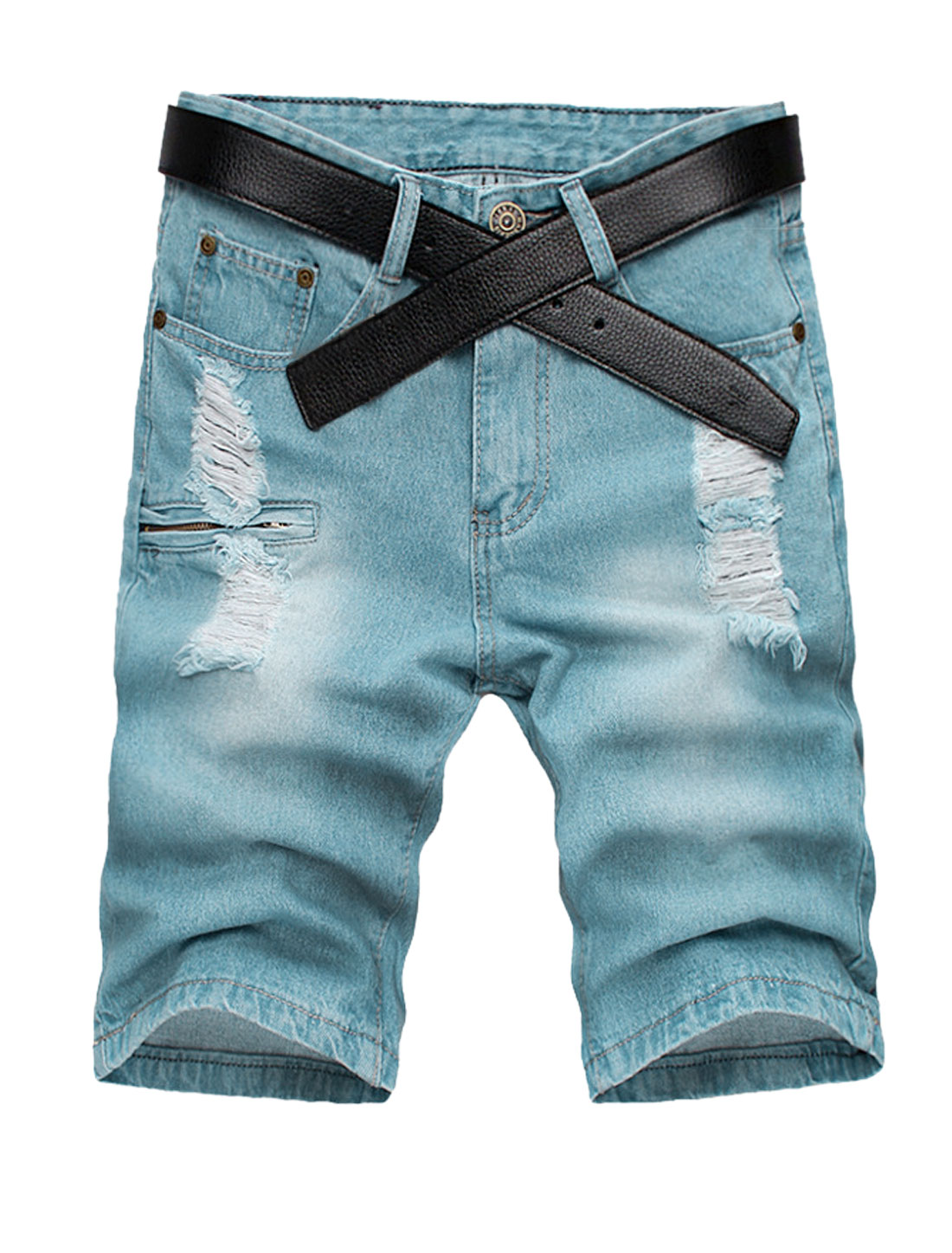 Men One Button Closed Zip Fly Destroyed Design Pockets Jean Shorts W32
