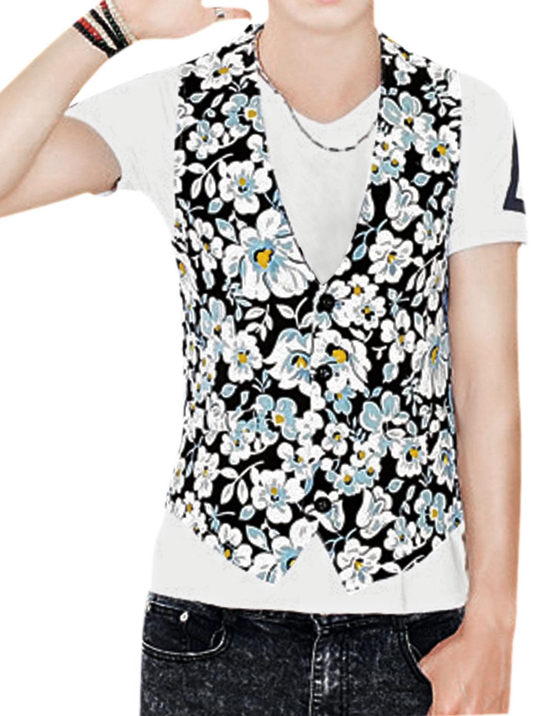 Men Floral Prints Button Closed Two Seam Pockets Vest Black Light Blue S