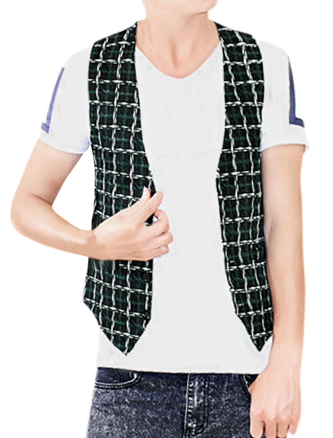 Men Plaids V Neckline Two Seam Pockets Slim Fit Vest Green Black S