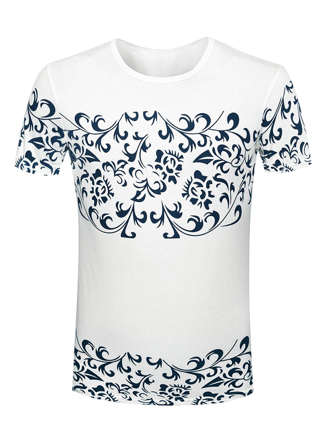 Man Floral Prints Round Neck Short Sleeves Slipover Tee Whites M
