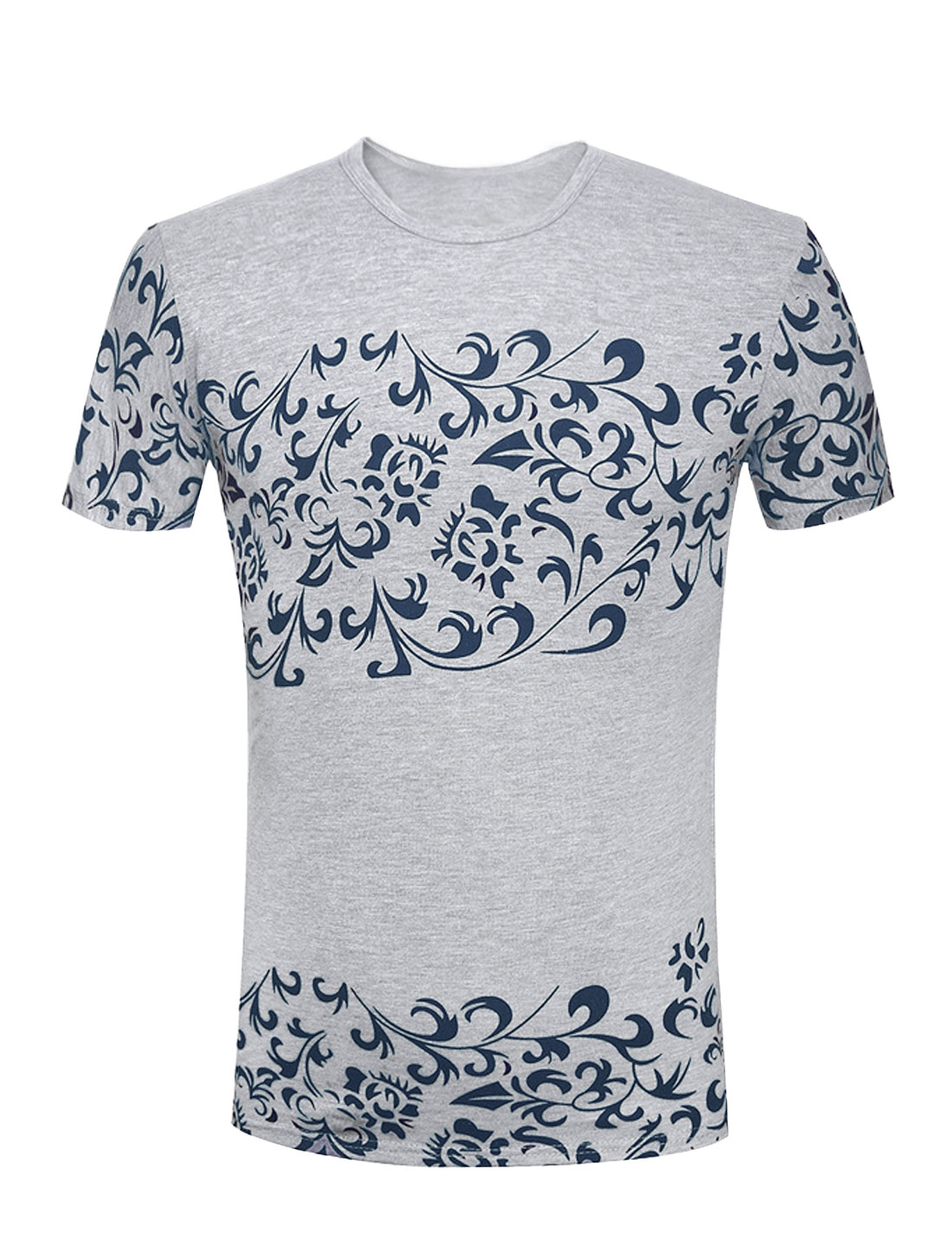 Men Floral Prints Well-fitting Short Sleeves T-shirt Light Grays M