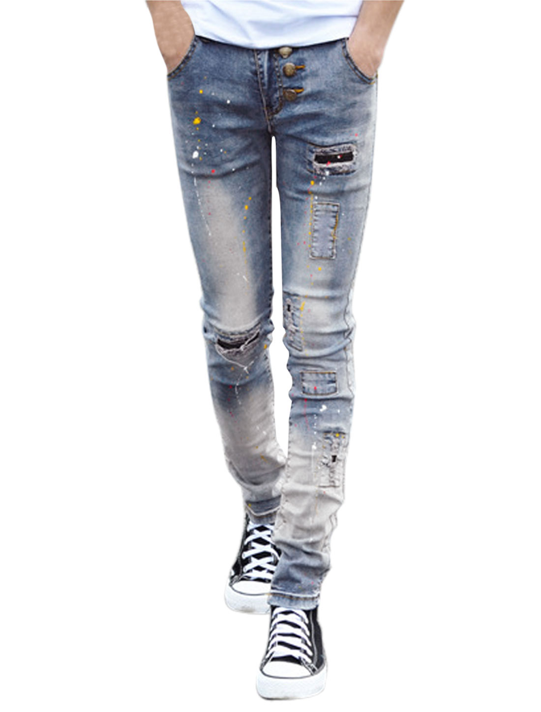 Men Paint Point Prints Distressed Mid Rise Skinny Jeans Blue W28