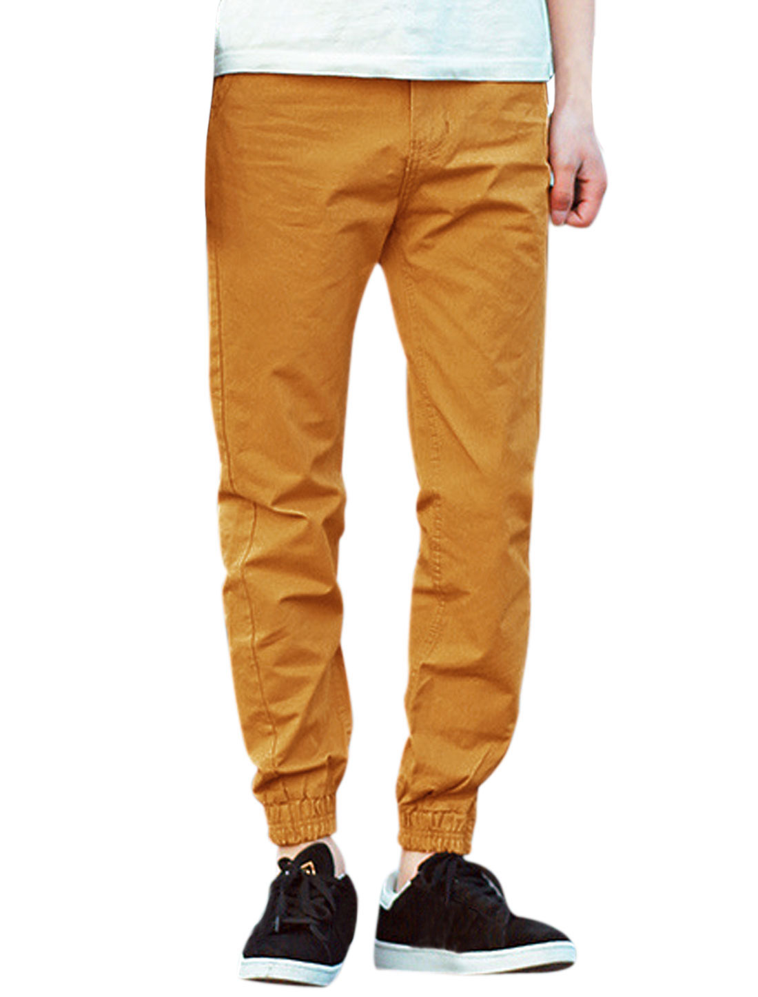 Men Elastic Thigh Cuffs Well-fitting Button Closed Casual Pants Orange W32