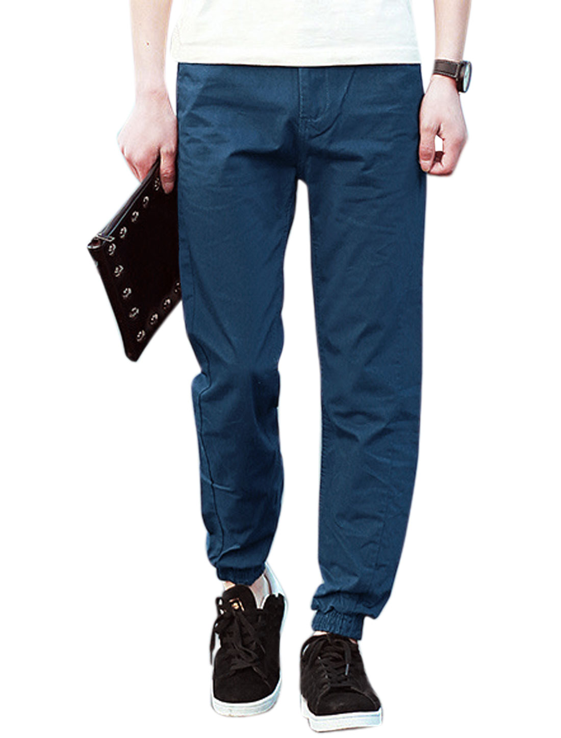 Men Elastic Cuffs Mock Flap Pockets Back Leisure Pants Dark Blues W32