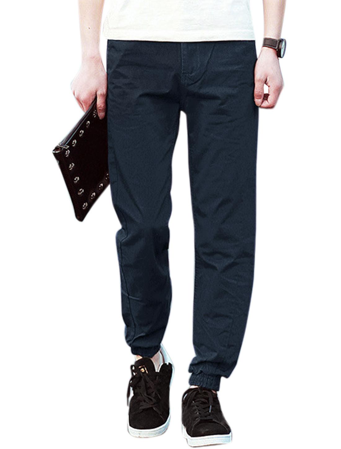 Men Elastic Cuffs Two Pockets Front Belt Loop Casual Pants Navy Blues W32