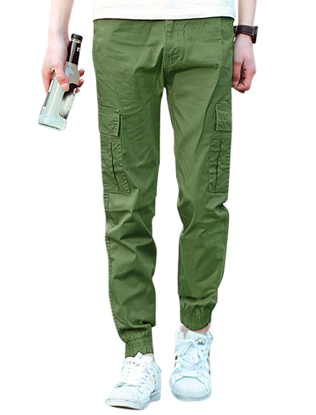 Men Elastic Thigh Cuffs Two Cargo Pockets Casual Pants Army Green W32