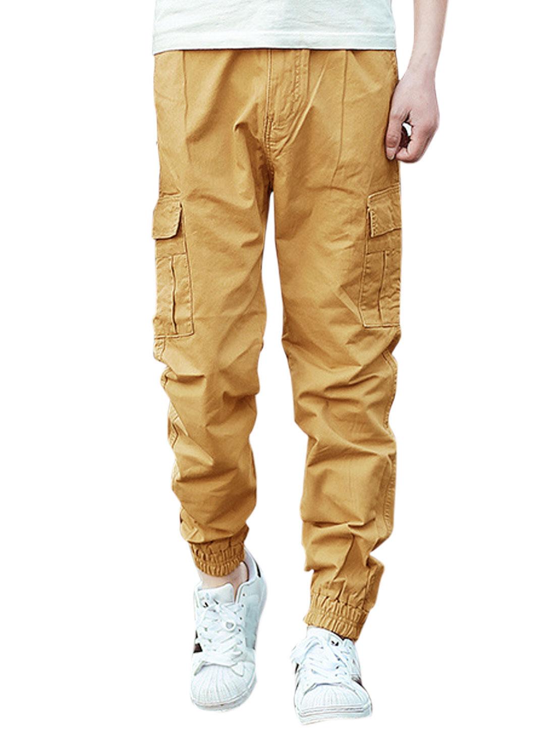 Men Two Cargo Pockets Elastic Cuffs Zip Fly Casual Pants Khaki W32