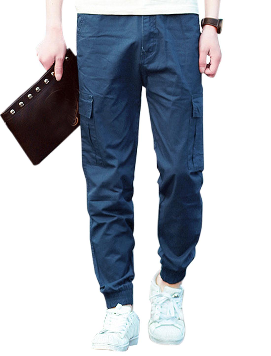 Men Elastic Thigh Cuffs Cargo Pockets Side Leisure Pants Dark Blue W32