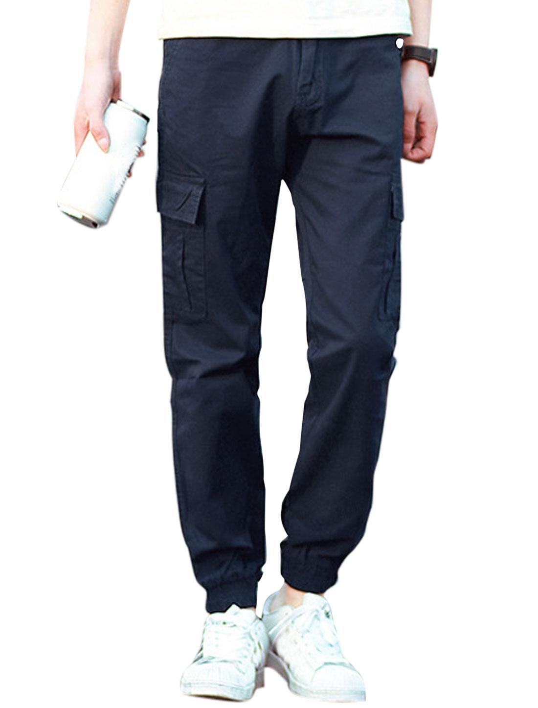 Men Mid Rise Belt Loop Two Cargo Pockets Casual Pants Navy Blue W32