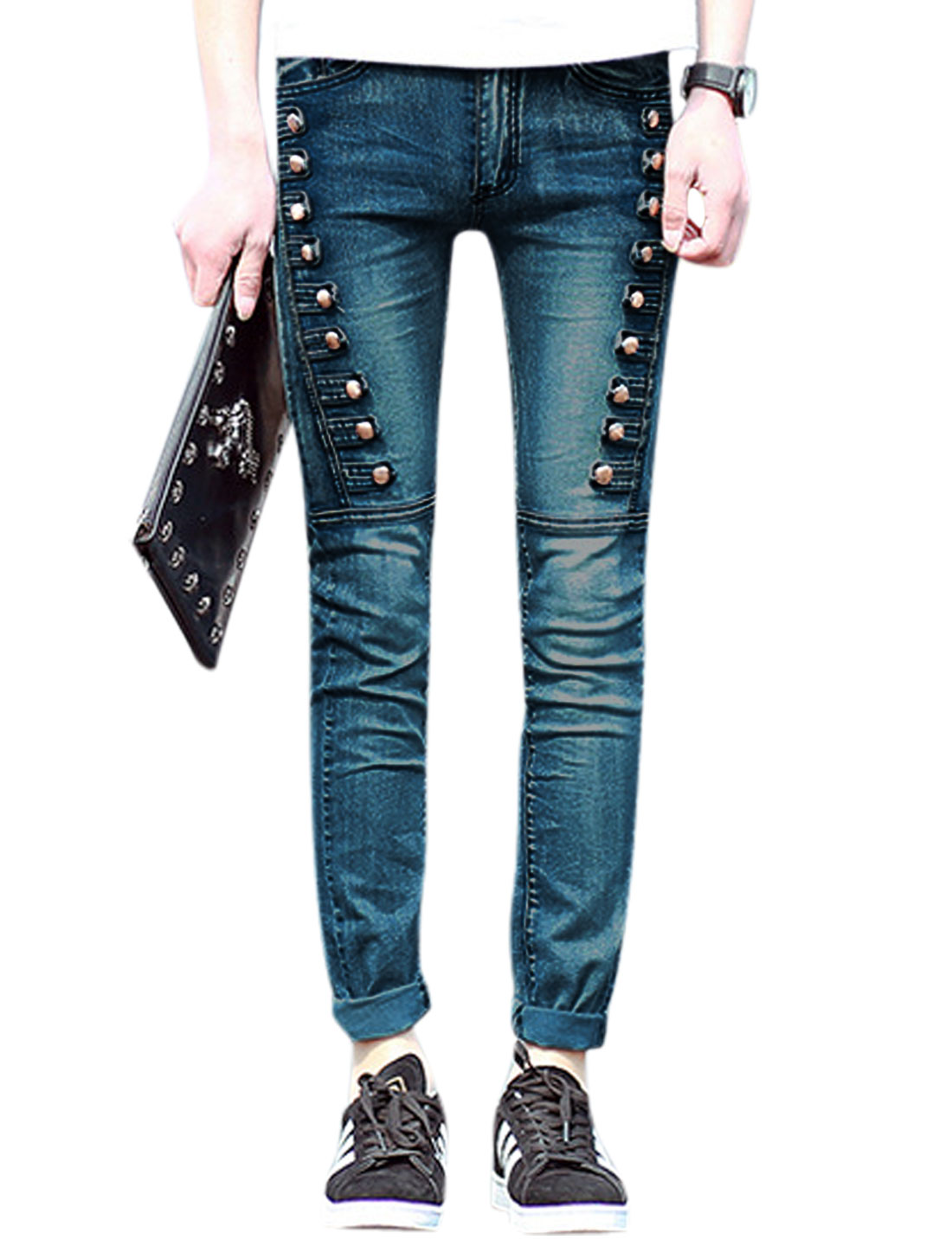 Men Buttons Decor Mid Rise Zip Fly Casual Skinny Jeans Dark Blue W28