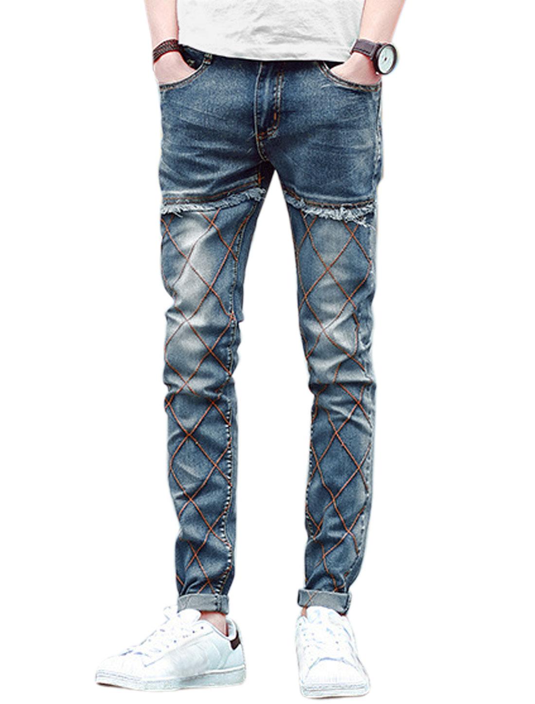 Men Argyle Stitching Tassels Detail Skinny Jeans Drak Blue W28