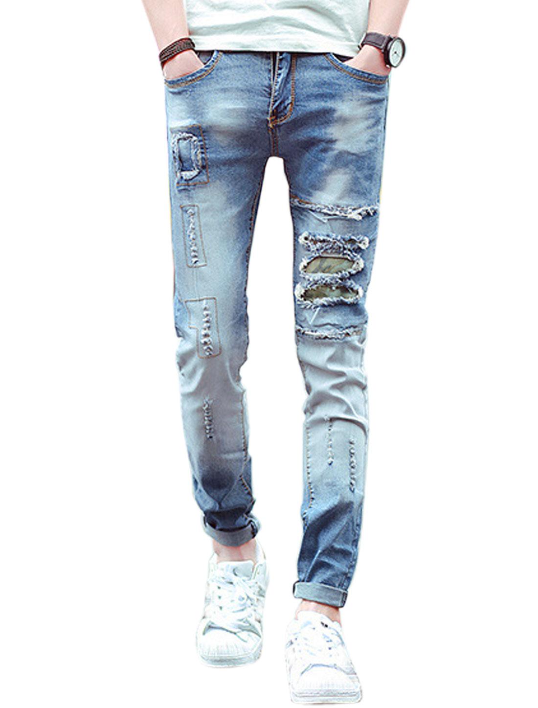 Men Destroyed Design Mid Rise Hip Pockets Skinny Jeans Blues W28