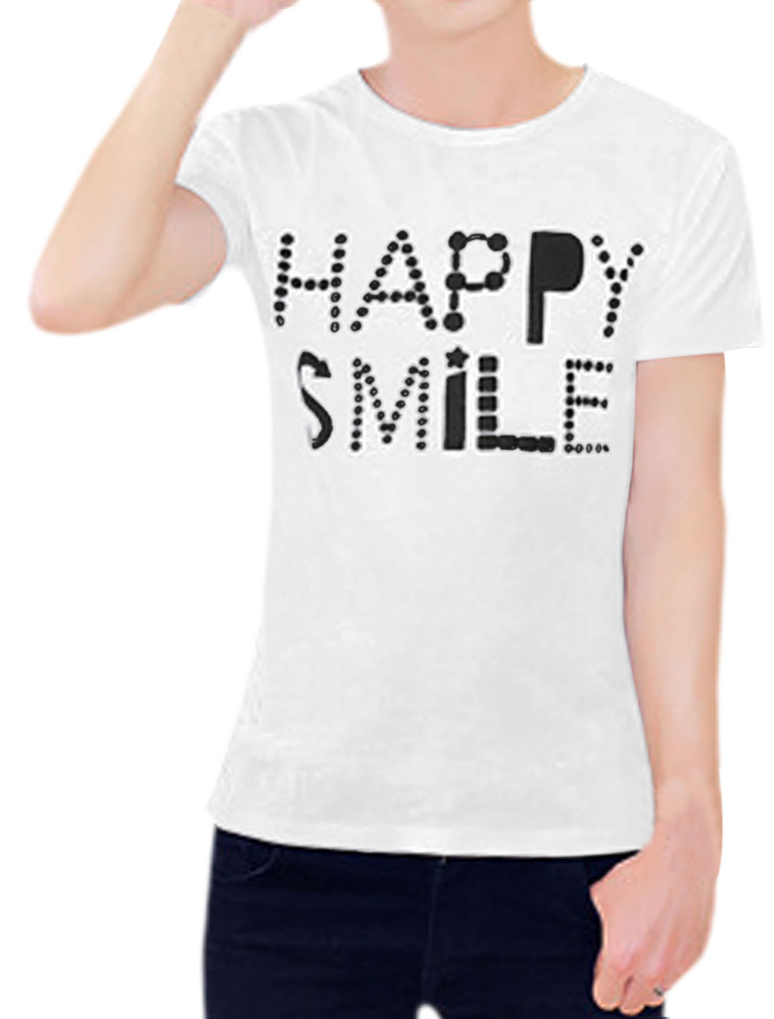 Men Letters Prints Round Neck Short Sleeves Casual T-shirt White M