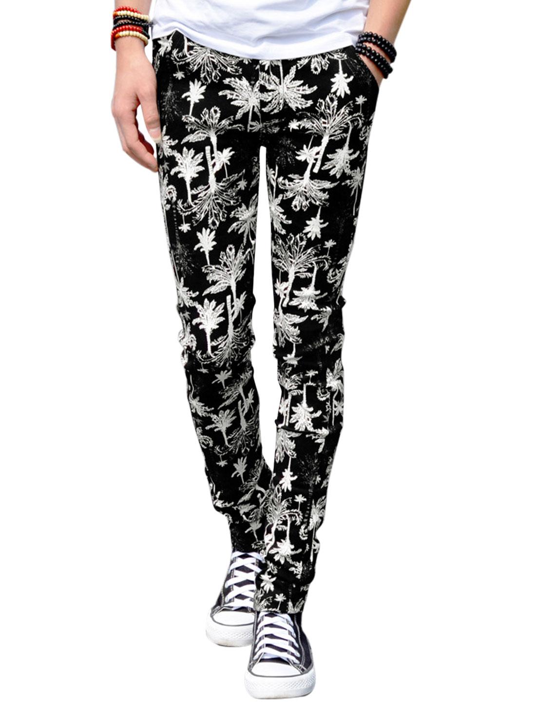 Men Trees Pattern Mid Rise Slim Fit Zip Fly Casual Pants Black W28